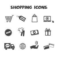 símbolo de ícones de compras vetor