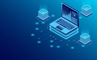 Tecnologia de armazenamento em nuvem da sala de servidores do Datacenter e processamento de big data