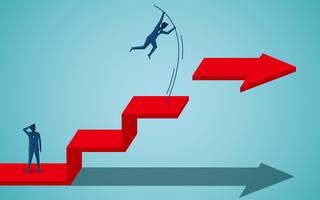 Empresários concorrentes vão alvo na seta vermelha vetor