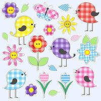 Flores e pássaros bonitos vetor