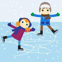 Menino e menina de patinação no gelo vetor