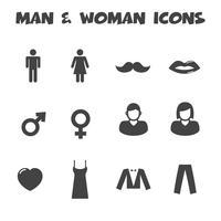 ícones de homem e mulher