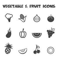 ícones de vegetais e frutas