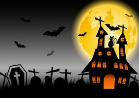 Casa assombrada de Halloween com lua brilhante e cemitério