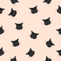padrão de cabeça gato preto vetor