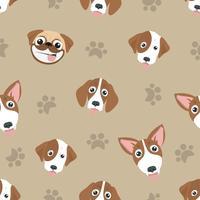 Variedade de cachorro fofo cabeça padrão sem emenda