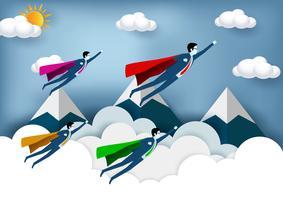 Empresários de super-herói voando com montanhas no fundo vetor