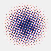 Fundo de círculos de meio-tom manchado radial abstrato vetor