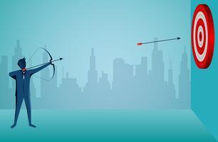 Empresário atirando uma flecha no alvo vetor