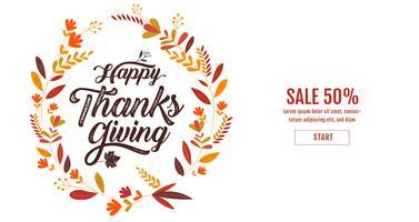 Cartaz de tipografia feliz dia de ação de Graças vetor