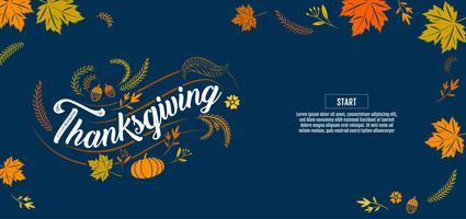 Cartaz de tipografia de ação de Graças com elementos de outono vetor