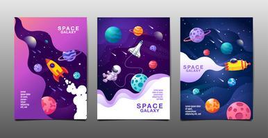 conjunto de banners de design de galáxia de espaço vetor