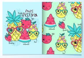Mão desenhada gato bonito frutas com conjunto de padrões vetor
