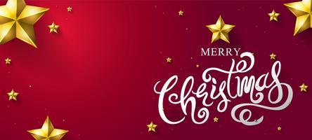 Caligrafia de feliz Natal com estrelas douradas vetor