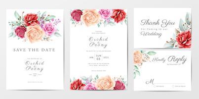 Conjunto de modelo de cartões de convite de casamento floral vetor