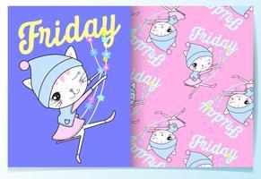 Mão desenhada gato bonito em balanço com sexta-feira texto padrão definido