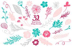 Conjunto de decoração floral primavera. Coleção de elementos do vetor com folhas e flores