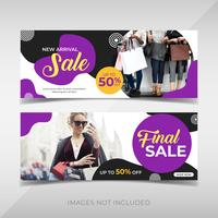 modelo de banner de venda de moda vetor