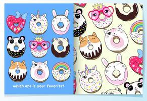 Mão desenhada donuts animais fofos com conjunto de padrões vetor