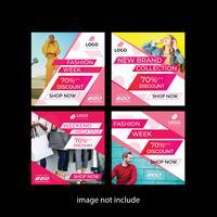 Coleção Pink Fashion Media Post vetor