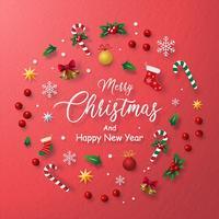 Cartão vermelho de decoração de Natal em um círculo