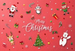 Cartão vermelho com caráter de Natal e decoração