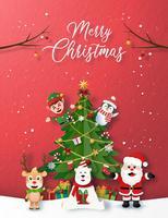 Estilo de papel cartão de feliz Natal