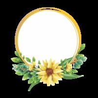 design de moldura de girassol estilo aquarela