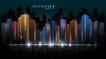 Skyline futurista abstrata colorida vetor