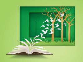 Livro aberto com pássaro voando a partir dele
