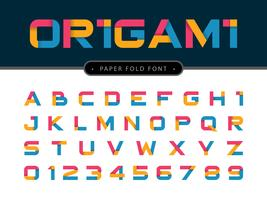 Letras e números do alfabeto de origami de papel