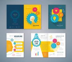 Conjunto de design de livro de capa de ícone de engrenagem