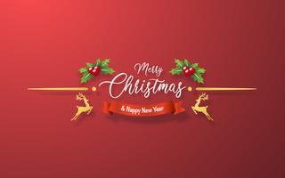 Decoração de Natal em fundo vermelho