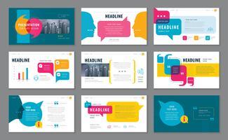 Modelos de apresentação coloridos, elementos infográfico modelo conjunto de design