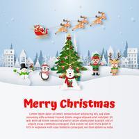 Espaço de cópia de cartão postal de Natal com personagem de desenho animado de Natal vetor