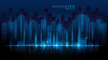 Cidade futurista abstrata Scape vetor