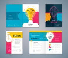 Conjunto de design de livro de capa de lâmpada