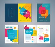 Conjunto de design de livro de capa de bolha de discurso colorido