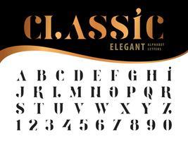 Números e letras do alfabeto elegante clássico