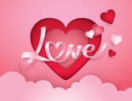 Alfabeto cursivo amor e fita de coração vetor