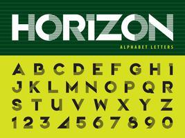 Alfabeto de linha horizontal letras e números