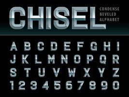 Letras e números chanfrados do alfabeto cinzelado
