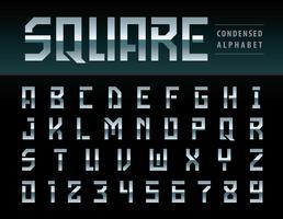 Alfabeto quadrado moderno letras e números