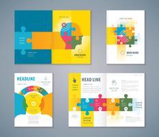 Conjunto de design de livro de capa colorida de quebra-cabeças