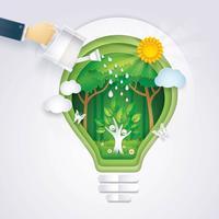 Salve o mundo, mão do empresário molhando feliz árvore ícone