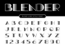 Letras e alfabeto de liquidificador fino