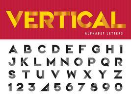 Alfabeto de linhas verticais Letras e números