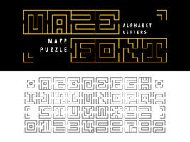 Labirinto quebra-cabeça alfabeto letras e números vetor