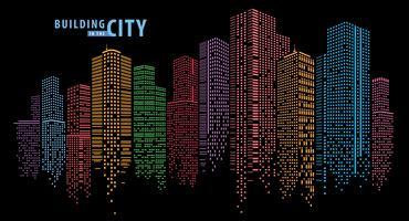 Pontos coloridos que compõem um horizonte da cidade vetor