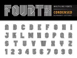 Alfabeto de listras de várias linhas letras e números